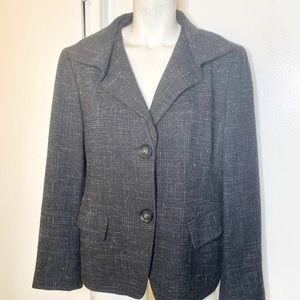 Lafayette 148 Black Grey Tweed Jacket 12